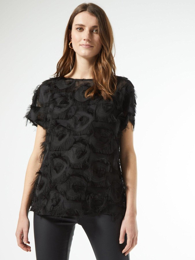 Thumbnail for your product : Dorothy Perkins Textured Drop Shoulder Blouse - Black