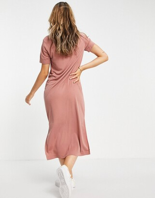 Monki Isabella super soft midi t-shirt dress in dusty pink