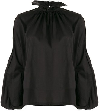 Wandering Long-Sleeve Ruffle Blouse