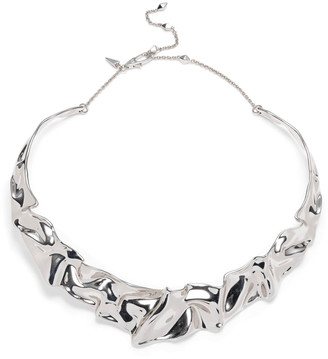 Alexis Bittar Crumpled Rhodium Collar Necklace
