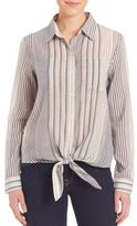 7 For All Mankind Striped Tie Front Shirt