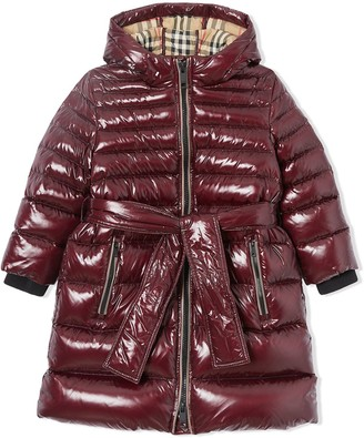 BURBERRY KIDS Icon stripe detail down-filled hooded puffer coat