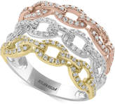 Effy Trio by Diamond Tri-Color Linked Ring (3/4 ct. t.w.) in 14k Yellow, White & Rose Gold