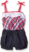 U.S. Polo Assn. Little Girls' 2 Piece Eyelet Ruffle Tank Top and Bubble Denim Short Romper