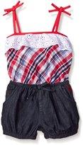 U.S. Polo Assn. Little Girls' 2 Piece Eyelet Ruffle Tank Top and Bubble Denim Short Romper