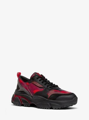 Michael Kors Ethan Camouflage Leather and Suede Trainer