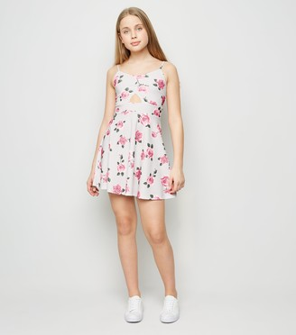 New Look Girls Floral Cut Out Skater Dress