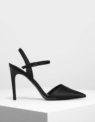 Charles & Keith Satin Ankle Strap Covered Heels