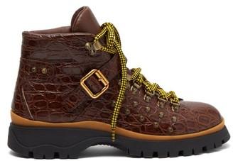 Prada Crocodile-embossed Leather Ankle Boots - Womens - Tan