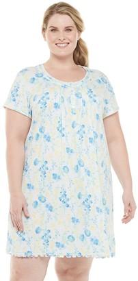 Miss Elaine Plus Size Essentials Knit Short Print Gown