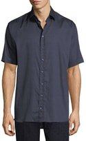 Etro Circle-Print Cotton Short-Sleeve Shirt