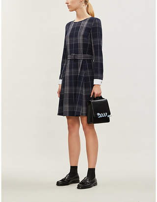 Claudie Pierlot Contrast-cuff tartan stretch-crepe dress