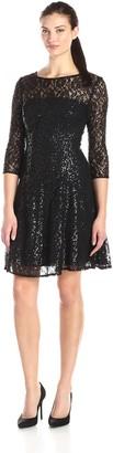 SL Fashions Women's Lace Long Sleeve Party Dress