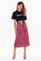 Nasty Gal Womens Neon Signs Animal Print Midi Skirt - Pink - 4, Pink