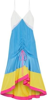 Prabal Gurung Satin-paneled Color-block Silk Crepe De Chine Midi Dress