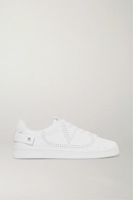 Valentino Garavani Backnet Logo-perforated Leather Sneakers - White