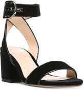 Franco Sarto Marcy Block-Heel Velvet Sandals Women's Shoes