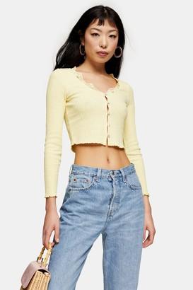 Topshop Womens Petite Yellow Ribbed Lace Cardigan - Lemon