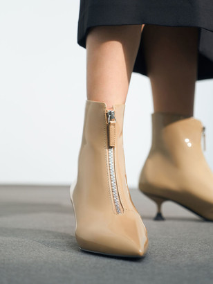 Charles & Keith Patent Front Zip Ankle Boots