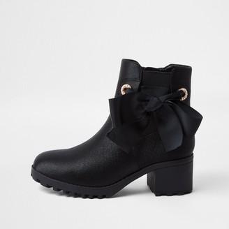 River Island Girls Black satin snake bow boots