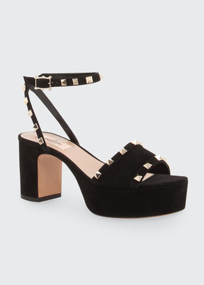 Valentino Suede Rockstud Platform Sandals