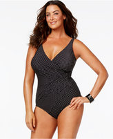 Miraclesuit Plus Size Tummy-Control Dot-Print One-Piece Swimsuit