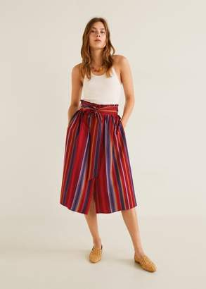MANGO Striped midi skirt red - XXS - Women