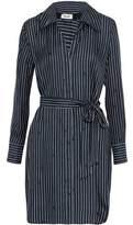Diane von Furstenberg Belted Striped Silk Shirt Dress