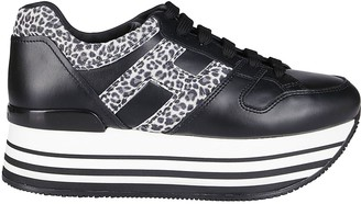 Hogan Black Leather Maxi H222 Sneakers
