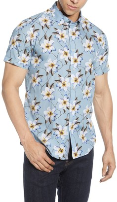 Ted Baker Floral Short Sleeve Slim Fit Hawaiian Shirt