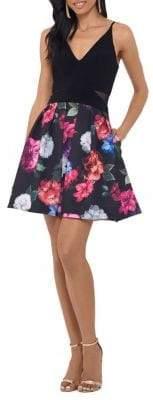 Xscape Evenings Floral Fit-&-Flare Cocktail Dress