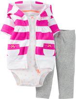Carter's 3-pc. Cardigan, Bodysuit and Pants Set - Girls newborn-24m
