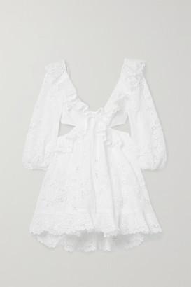 Zimmermann Brighton Cutout Ruffled Broderie Anglaise Cotton Mini Dress