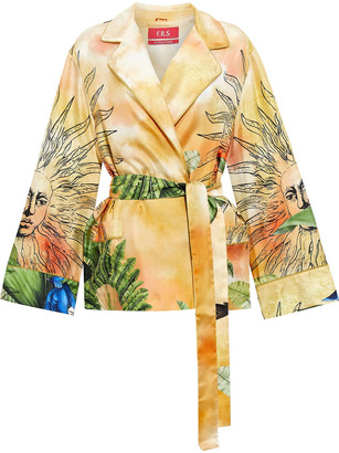 F.R.S For Restless Sleepers Giocasta Belted Printed Silk-twill Blazer
