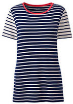 Lands' End Women's Petite Shaped Cotton Crewneck T-shirt-Deep Sea/Ivory Stripe