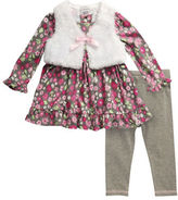 Sweet Heart Rose Sweetheart Rose Baby Girls Three-Piece Knit Mini Dress, Vest and Knit Leggings Set