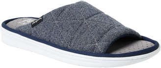 Dearfoams Men's Heathered Knit Quilted Slide Slippers