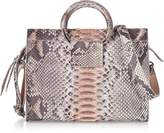 Ghibli Pearl Gray and Pale Pink Python Leather Small Satchel Bag w/Metal Handles