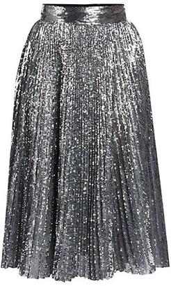 Dolce & Gabbana Pleated Sequin Midi Skirt