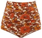 Dodo Bar Or Alexa High-rise Ruched Floral-print Bikini Briefs - Womens - Brown Print