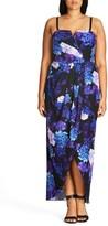 City Chic Plus Size Women's Hydrangea Print Maxi Dress