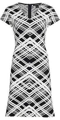 St. John Architectural Grid Jacquard Knit V-Neck A-Line Dress