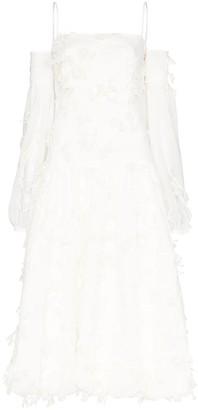 Xu Zhi Cold-Shoulder Applique Midi Dressc