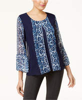 JM Collection Printed Split-Bodice Blouse, Created for Macy's