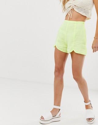 Asos Design DESIGN soft denim beach shorts with split front detail in bright lime-Green