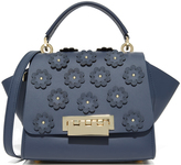 Zac Posen Floral Applique Eartha Iconic Top Handle Cross Body Bag