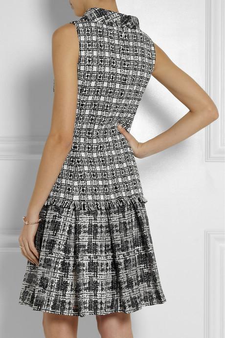 Oscar de la Renta Bouclé-tweed and silk-blend chiffon dress