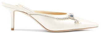Jimmy Choo Rav 65 Crystal-embellished Satin Mules - White
