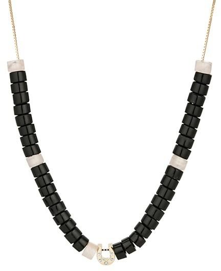 Adina Reyter Design Kits 14K Yellow Gold, Onyx, Rose Quartz & Diamond For Luck Box-Link Necklace