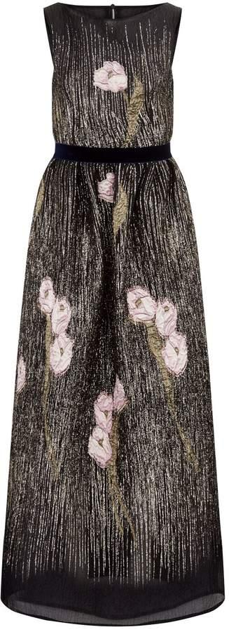 Talbot Runhof Embroidered Metallic Gown
